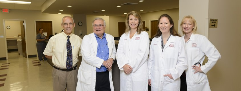 From left: Drs. Ray Brignac, H. Joseph Fritz, Catherine Skinner, Jennifer Clem and nurse practitioner Lisa Brashier